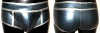 FÜR IHN - Latex Shorts mit Kontrastnähten - PETROL & SILBER - Gr. 3XL-4XL