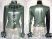 Damen Latex Bluse mit Rüschenkragen